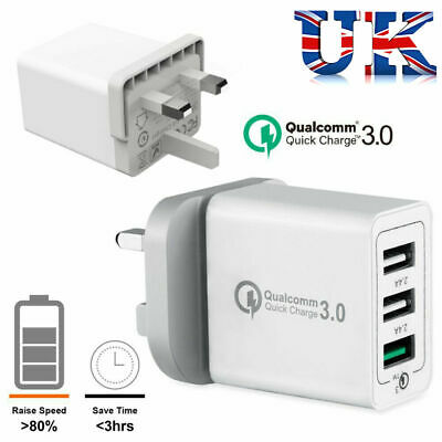 3 Port Fast Qualcomm Quick Charge QC 3.0 USB Hub Wall Charger Adapter UK HOT