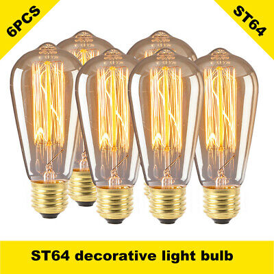 6 pack 60w/110v Edison light Bulbs 60W Dimmable Vintage Incandescent E26 ST64
