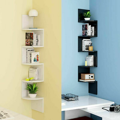 5 Tier Floating Wall Shelves Corner Shelf Storage 3D Wall Mount Display Bookcase