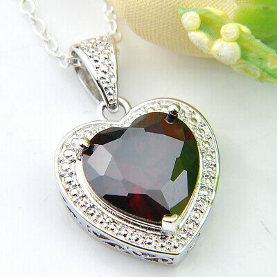 Retro Heart Shaped Natural Fire Red Garnet Gemstone Silver Necklace Pendants