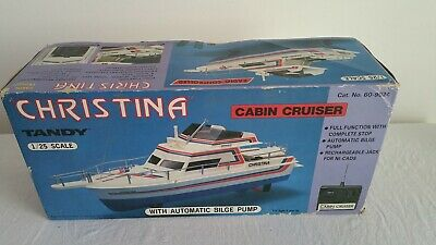 "Radio Shack/Tandy - R/C Cabin Cruiser Boat ""Christina"" 1:25 Scale - In Box"