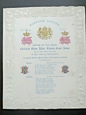 Queen Victoria WINDSOR 1867 Paper Lace Order of Service Baptism Prince Christian