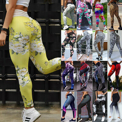 Women's High Waist Yoga Pants Push Up Fitness Leggings Gym Workout Trousers A90