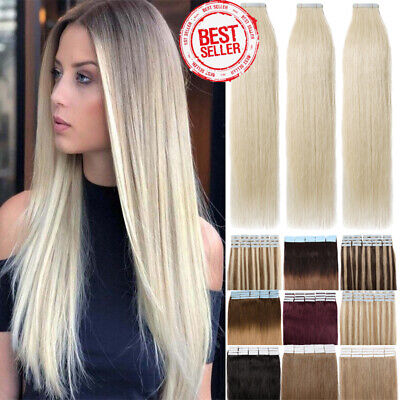 150g 8A Tape in Russian 100% Human Remy Hair Extensions Skin Weft 60pcs AU W434