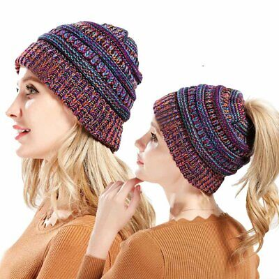 Ladies Tail Messy Soft Beanie Bun Hat Ponytail Stretchy Knitted Crochet Skull VE