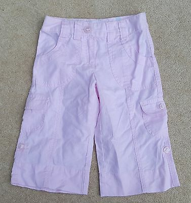 MANTARAY Girls Pink 3/4 Trousers Cargo Pants Linen Blend 7 Years