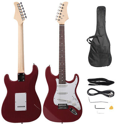 "39.37"" Beginner Electric Guitar +Bag Case +Cable +Strap +Picks Rosy"