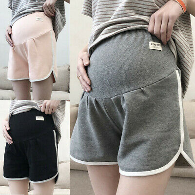 Women Maternity Pregnant Shorts Pregnancy Solid Cotton Casual High Waist Pants