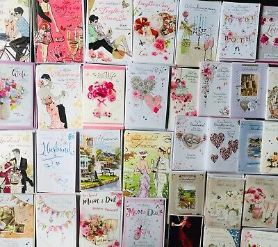 Job Lot Of 125 Anniversary Relation Greeting Cards New Top Brands Shop Clearance