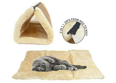 Cat Kitten Pet Mat Tunnel Cave Thermal Soft Warm Portable Foldable Pillow Brown