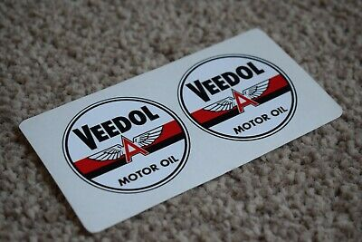 Veedol Motor Oil Gas Petrol Retro Logo Racing Garage Decal Stickers Round 50mm