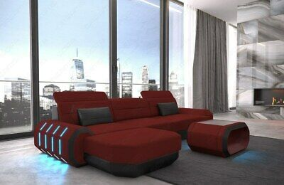 Ecksofa Couch Polster Sofa ROMA L Form Mega Eckcouch Rot Stoffsofa Ottomane LED