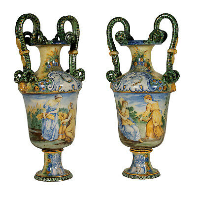 Pair of Vases Mollica Manufacture Naples Italy Late 1800s