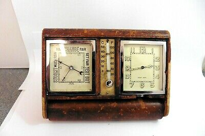 1930s LECOULTRE 8-DAY CLOCK BAROMETER THERMOMETER WEATHER STATION TRAVEL CLOCK