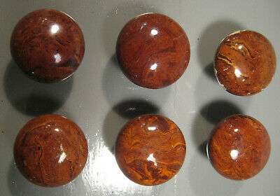 6 Antique Brown Bennington Speckled Ceramic Doorknobs Restoration Part Lot Kd7
