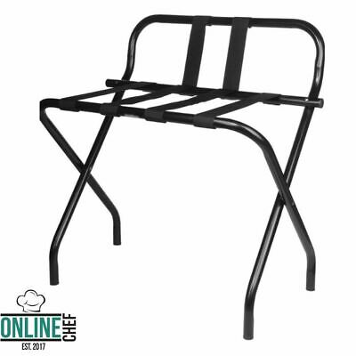 Black Folding Heavy Duty Metal Luggage Rack with Guard and Rubber Feet Office