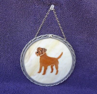 Border Terrier Stained Glass Hanging Sun Catcher