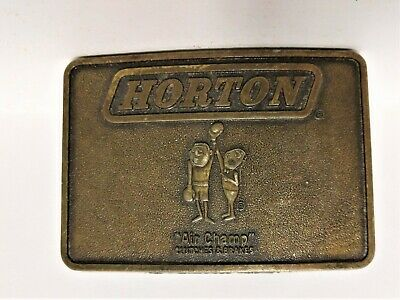 Rare Vintage Brass HORTON Air Champ Clutches & Brakes Belt Buckle Made in USA
