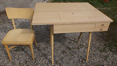 1950's MCM Blonde Singer Drop Leaf Sewing Table/Cabinet w Chair For 301A Machine