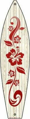 "Hibiscus Flower Motif Design Metal Surfboard Sign 17"" x 4.5"" ↔ Home Wall Decor"