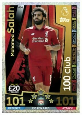 MATCH ATTAX  2018/19 18/19 Mohamed Salah 100 101 Club, Mint Condition