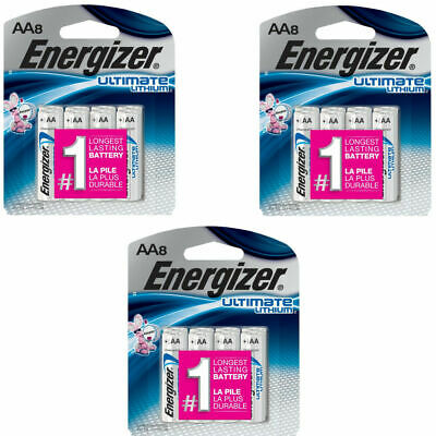 24 Energizer Ultimate Lithium - Size AA - 3 x (8-packs) = 24 Total Batteries!