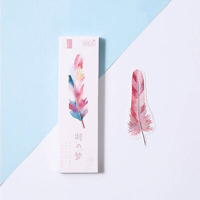 Cute Colorful Feather Bookmark Page Marker Paper Clips 30 Pcs/lot Student Gift