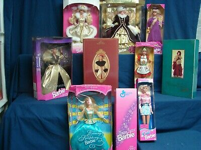 Huge Lot 10  Mattel 1990's  Barbie Dolls New in Box Holidays and others