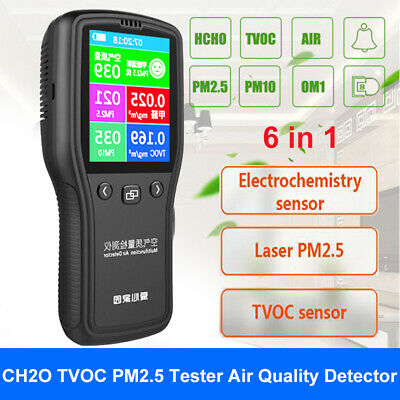 Household 6in1 TVOC CH2O Formaldehyde Tester Monitoring Gas Analyzer Air Quality