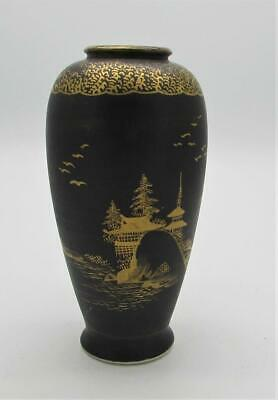 Signed Antique Japanese Satsuma Vase - Black Gilt Gold Design - Pagoda Landscape