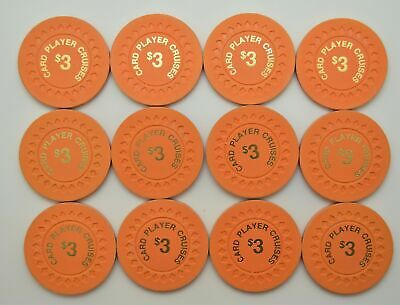Set of 12 $3 Card Player Cruises Casino Poker Chips Unique Collection