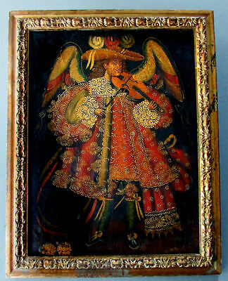 Vintage / Antique CUZCO SCHOOL Peruvian Oil Painting ANGEL with VIOLIN