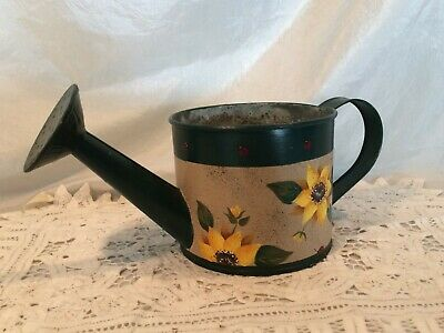 Vintage Toleware Watering Can Planter Rustic Farmhouse Country French Shabby Chc