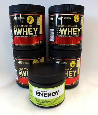 Sealed 4 x GOLD STANDARD 176g Whey Protein Tubs & 1 x NUTRAMINO Energy  - L12
