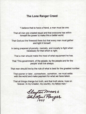 "Clayton ""The Lone Ranger"" Moore - Typescript Signed 1997"