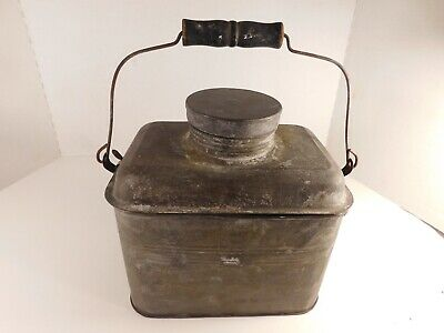 Antique Metal Miner's Lunch Pail with Handle
