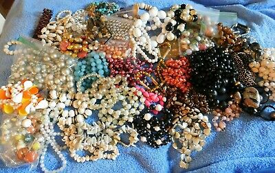 Large Lot of Vintage Beads, Broken Vintage Necklaces Over 5 Pounds Assortment
