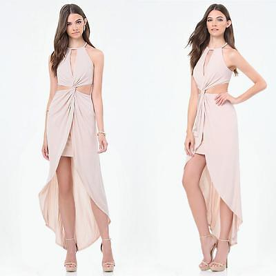 Bebe Rose Dust Twist Front Cutout Hi-Lo Dress Gown New Nwt $139 Large L