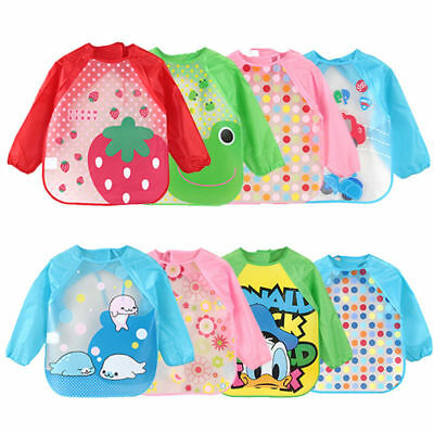 Baby Kids Cartoon Long Sleeve Bibs Apron Waterproof Smock Feeding Wear Toddler