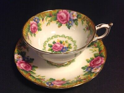 Paragon Fine Bone China Cup & Saucer Tapestry Rose Pattern Pink Roses