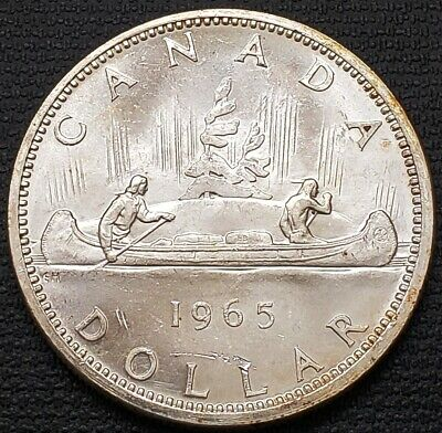 1965 Canada Silver $1 Dollar Coin ***Type 5 Variety*** Mint Condition