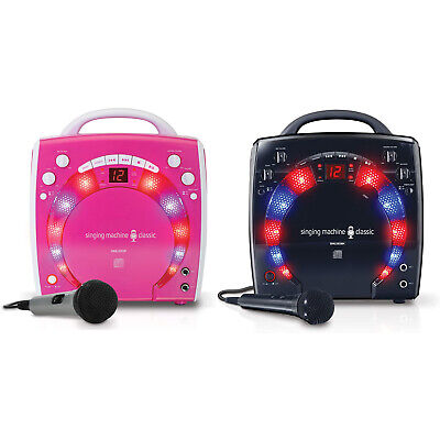 Singing Machine Portable CD +G Karaoke System with Disco Lights & Microphone