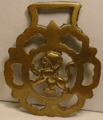 Vintage Brass Horse Saddle Medallion Bridal Harness Fighting Lion ornament