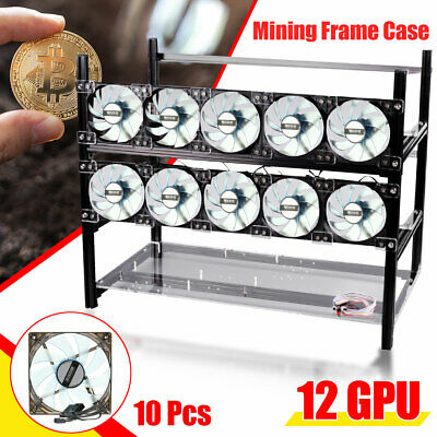12 GPU 4U Rackmount Mining Server Case Frame Rig ETH With 10 LED Fans AU Stock