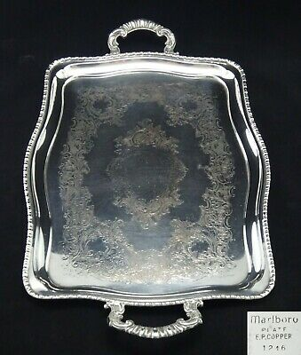 Vintage Rectangle Marlboro Silver Plated Chased Butlers Serving Tray Twin Handle