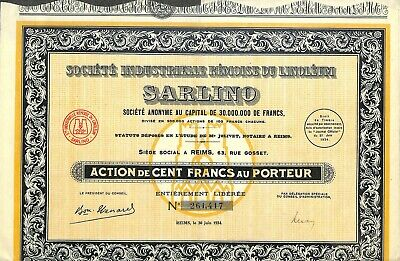 Reims (51) Scripophilie /  Sarlino Linoleum / Action Bourse 1934