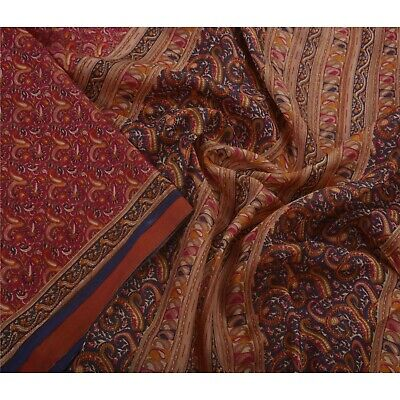 Sanskriti Antique Vintage Dark Red Saree Pure Silk Printed Craft Fabric Sari