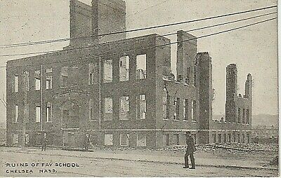 Early 1900's  Ruins of Fay School After Fire in Chelsea, MA Massachusetts PC