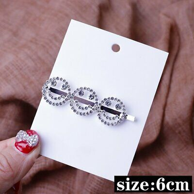Women Girls Crystal Rhinestone Words Hair Clip Barrette Stick Hairpin New
