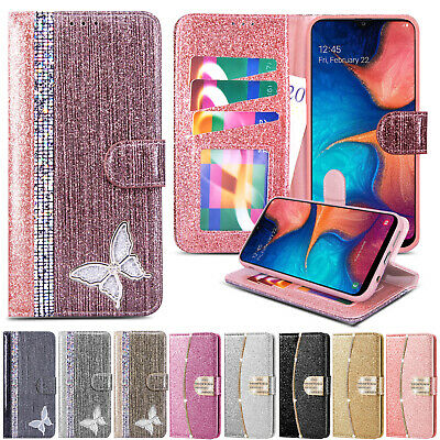 For Samsung Galaxy A20e A70 A10 A40 Glitter Flip Leather Wallet Phone Case Cover